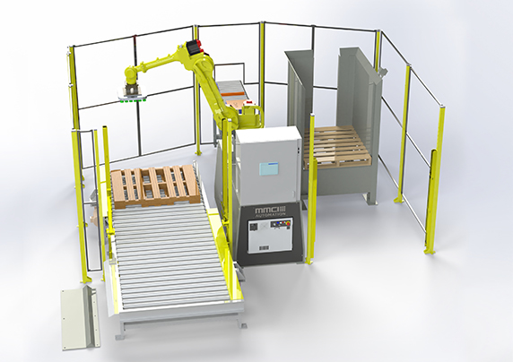 QSP-100CP, quick ship palletizer, quick ship robotic palletizer, quick ship robotic palletizing, robotic palletizing