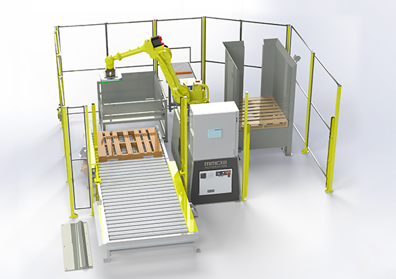 QSP-100CPS, quick ship palletizer, quick ship robotic palletizer, quick ship robotic palletizing, robotic palletizing