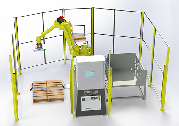 QSP-100S, quick ship palletizer, quick ship robotic palletizer, quick ship robotic palletizing, robotic palletizing