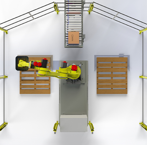 Outfeed Manual Systems, robotic palletizer, robotic palletization, robotic palletizing system, robotic palletizers, robotic palletizing arm, palletizier, automatic palletizer, palletization