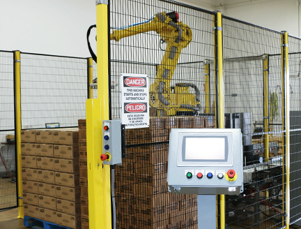 robotic palletizer with small footprint