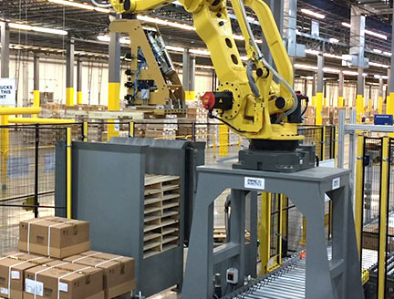 Robotic Pallet Dispenser from MMCI Robotics, robotic palletizer, robotic palletization, robotic palletizing system, robotic palletizers, robotic palletizing arm, palletizier, automatic palletizer, palletization