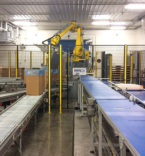 Robotic Case Packing Systems from MMCI Robotics, robotic palletizer, robotic palletization, robotic palletizing system, robotic palletizers, robotic palletizing arm, palletizier, automatic palletizer, palletization