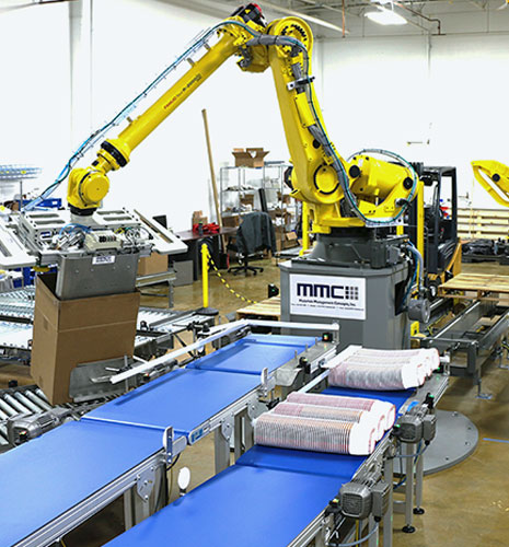 Comprehensive Robotic Case Packing Solutions from MMCI Robotics, robotic palletizer, robotic palletization, robotic palletizing system, robotic palletizers, robotic palletizing arm, palletizier, automatic palletizer, palletization